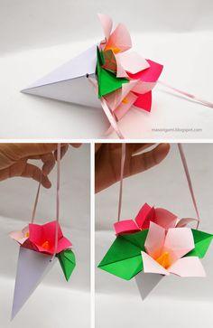 origami - ramito de flores realizado en papel