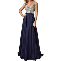 Womens Jewelry Deep Vneck Beaded Chiffon Prom Dress Long Evening Gown for Party Navy Blue Size 8 >>> Click for Special Deals #HomecomingDresses2017