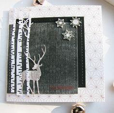 card christmas tree trees birch forest trunk deer reindeer snowflake Hannas Art: November 2015