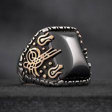 9164b56e995 Turkish Islamic Mens Ring TAWHID AS TUGHRA Black Quartz 925 Sterling  Silver. Art Zoom