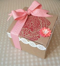 Beautifully Baroque stamp which almost covered the entire top of the box.  It's such a gorgeous stamp, you don't need much else.  The little flower was made with the Bojo Blossoms Punch.  It has three different flowers you can punch.  For today's project I punched the largest flower two times, once in Calypso Coral card stock, and once in Strawberry Slush card stock.  The smallest flower is punched from Crisp Cantaloupe card stock