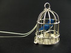 Blue Bird in Silver Cage Necklace