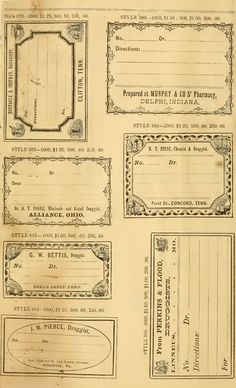 Etiquetas vintage de farmacia gratuitas para imprimir - Free Printable Vintage Pharmacy & Apothecary Labels The . Vintage Labels, Vintage Ephemera, Journal Cards, Junk Journal, Bullet Journal, Printable Paper, Printable Vintage, Papel Vintage, Vintage Paper Crafts