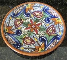 Mexican Talavera Dinner Plate Dot Daisy Floral Terra Cotta Border La Corona 174 #Mexican pottery