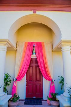 The 126 best decor images on pinterest indian weddings pink this at home indian wedding decoration with draping fabric on the front door is perfect to welcome guests to your home for a pre wedding indian event junglespirit Choice Image