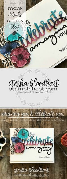 Amazing You Stamp Set and Celebrate You Thinlits Dies from the Stampin' Up! 2018 Sale-a-Bration Catalog, Items FREE with Purchase. Buy Online with Stampin' Hoot! Stesha Bloodhart #stampinhoot #steshabloodhart #tgifc141