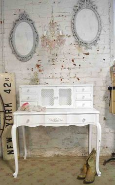 Painted Cottage Chic Shabby French Desk [DK248] - $395.00 : The Painted Cottage, Vintage Painted Furniture