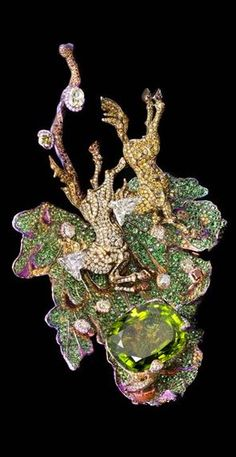Wallace Chan Entrancing Love brooch featuring a horse compromised of two diamonds, a 52.58ct peridot, fancy coloured diamonds, yellow diamonds, diamonds, tsavorites and garnets. Shapewear - http://amzn.to/2hGpxP0