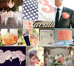 dark blue and coral wedding | Coral, tiffany blue, and navy