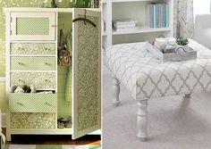 Revestir móveis é prático e econômico. Fotos: theberry/Pinterest; handimania/Pinterest