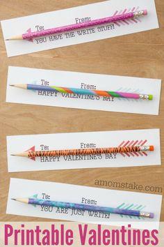 Pencil Arrows Printable Classroom Valentines