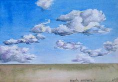 boceto de escenario nubes  acrílico sobre papel algodón