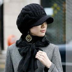 Cheap Fashionable Pattern Decorated Solid Color Knitting Bomber Hat For Women (BLACK), Hats - Rosewholesale.com