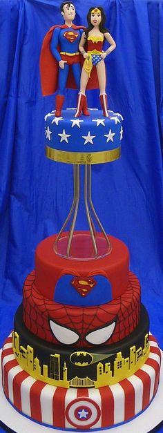 Superman Wonder Woman Wedding Cake