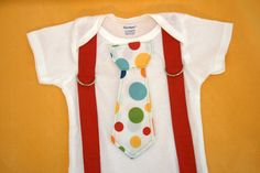 Suspender and Tie Onesie- Size 6 - 9 Month $15 #onesie