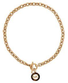 89c8cbc5652b Michael Kors Mkj5356 Gold-tone Tortoise LOOK Logo LRG Link Collar Necklace  for sale online