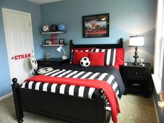 Feautured On bloggerhomes.com today. Soccer Bedroom - blogger homes