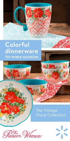 Add casual elegance and quirky charm to your dinner table with dinnerware from The Pioneer Woman. Designed to be mixed-and-matched, this dinnerware is all occasion appropriate. Pioneer Woman Dishes, Pioneer Woman Kitchen, Pioneer Woman Recipes, Pioneer Women, Retro Vintage, Vintage Floral, Pioneer Woman Dinnerware, Kitsch, Ree Drummond