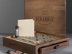 Premier Edition Wooden Scrabble - Beautiful vintage hardwood Scrabble set for fans of the classic word game