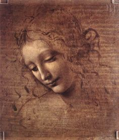 "Leonardo da Vinci –1519, La Scapigliata, Italian for ""Woman who is uncombed.""  da Vinci showed noble women to be equal to men in mental status. This is why her head appears three dimensional while her chest is only one dimensional."