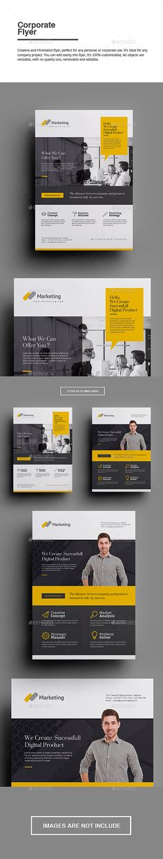 Buy Corporate Flyer by punkl on GraphicRiver. Corporate Flyer Creative and Minimalist flyer, perfect for any personal or corporate use. It's ideal for any company . Business Flyer Templates, Flyer Design Templates, Print Templates, Mailer Design, Newsletter Layout, Text Tool, Corporate Flyer, Finance, Social Media