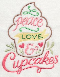 EMBROIDERED CUPCAKE -FLOUR SACK DISH TOWEL- #HOMECRAFTED