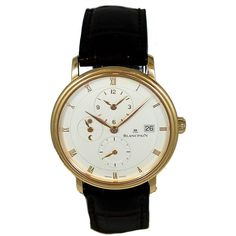 Pre-owned Blancpain Rose Gold Villeret Ultra Slim Dual Time Wristwatch ($10,995) ❤ liked on Polyvore featuring jewelry, watches, wrist watches, rose gold jewellery, 18 karat gold jewelry, preowned watches, pink gold watches and pre owned jewelry