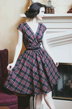 87e8d03878 Eleanor Holiday Swing Dress by Folter - Red Tartan Plaid - SALE sz only.  Eleanor Swing Dress We LOVE the print on this new Retrolicious Folter Dress.