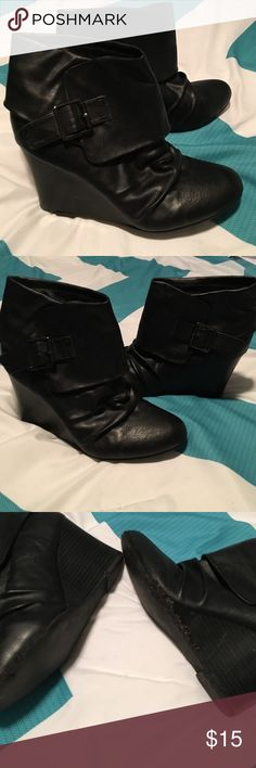 "Steve Madden, Madden girl Leather booties! Adorable black leather booties! Super comfy 3 1/2"" wedge. The left boot has scuffs on the side where my daughter drug her foot. Not really noticeable though! Madden Girl Shoes Ankle Boots & Booties"