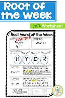 Root of the Week to Expand Vocabulary Fluency Activities, Reading Comprehension Activities, Word Work Activities, Vocabulary Activities, Listening Activities, Spelling Activities, Vocabulary Strategies, Vocabulary Words, Reading Lessons