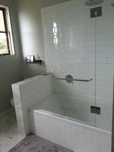 Shower tub combo w glass wall. But would need the half wall to be topped with glass pane too to keep splashes from the toilet area