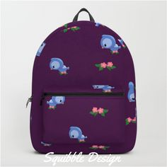 I love how cute my #bluebird #pattern design looks on the new #Society6 Backpacks!