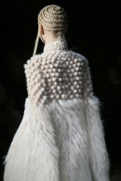 White on white fashion with soft fur textures; fashion details // Alexander McQueen