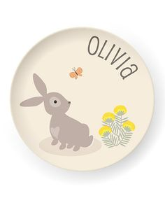 Bunny Personalized Plate by sarah + abraham on #zulily today! (Would be cute for cousin Jess who's nn is bunny)