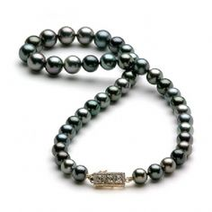 Tahitian Black Pearl Strand with Diamonds in 14K Yellow Gold (8-11mm)
