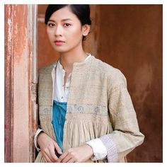 playing muse in our Boro quilted jacket in a beige coloured khadi. Shot against the beautiful old walls of the… Old Wall, Boro, Quilted Jacket, Muse, Walls, Beige, How To Wear, Jackets, Tea