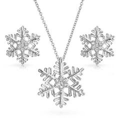 925 Sterling Silver CZ Snowflake Winter Necklace Earrings Set ($40) ❤ liked on Polyvore featuring jewelry, earrings, clear, theme jewelry, clear stud earrings, snowflake pendant necklace, cubic zirconia earrings, sterling silver cz earrings and pendant necklaces