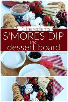Smores Dip for a Dessert Charcuterie Board - Hoosier Homemade Patriotic Desserts, Easy Desserts, Delicious Desserts, Party Food Platters, Dessert Platter, Charcuterie Platter, Snack Recipes, Dessert Recipes, Fourth Of July Food