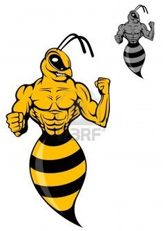Powerful wasp or yellow hornet in cartoon style for mascot Stock Photo - 17292463