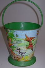 Vintage Green Sand Pail Great Graphics French FerEmbal