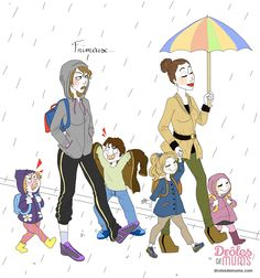 La mère parfaite, elle, elle passe même à travers les gouttes de pluie. Elle garde un chignon impeccable, des chaussures parfaites et ses enfants sont toujours secs ! Et puis il y a moi : la mère qui ne retrouve jamais le parapluie, qui se fait son brushing annuel juste le jour d'une tempête et dont les enfants sont en sandalettes sous la pluie… bref, celle qui hait cette crâneuse !  Toutes les illustrations de Marie Crayon : http://drolesdemums.com/illustration-humour-marie-crayon