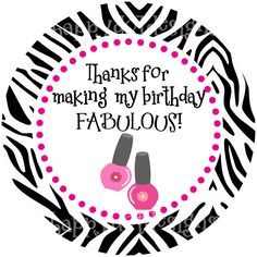Printable Spa Party Birthday Favor Tags Stickers - pinned by pin4etsy.com