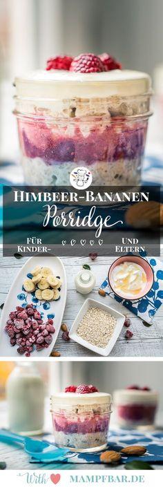 Leckeres Himbeere-Bananen Porridge für die ganze Familie und viele weitere Frühstücksideen für Kinder findet ihr bei uns auf mampfbar.de. Klick hier für das ganze Rezept.