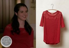 Bay Kennish (Vanessa Marano) wears this sheer linen blend blouse with lace detail at the shoulder in this week's episode of Switched at Birth.