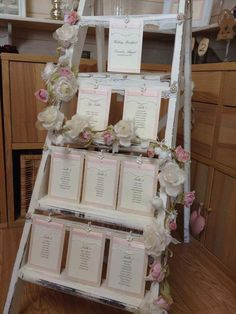 Retro Wooden Step Ladder Wedding Table Plan At Barn Venue Photography By One Thousand Words Photographers Details Pinterest