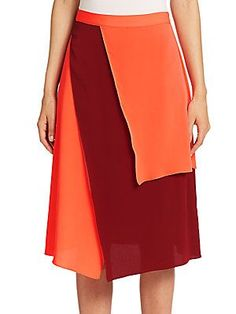 Tanya Taylor Ava Colorblocked Silk Skirt  - Color - Size