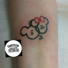 Cute minnie and mickey tattoo By gin @thirteentattooco