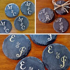 Get them before they're gone! 4 sets left! Personalized Circle Slate Coasters