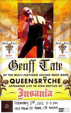 We hosted Geoff Tate, of Queensryche, and poured his wine, Insania! http://1313main.com/index.html