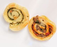Garlic-Herb Pinwheels and Harissa Sausage Pinwheels